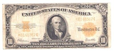 10 Dollars Michael Hillegas Gold Certificate United States Low Serial 1922 PM504