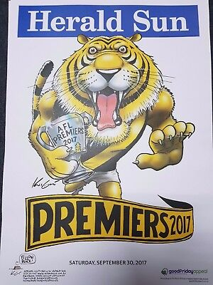 3 x RICHMOND TIGERS 2017 AFL Premiership Premiers Poster Mark Knight GRAND FINAL