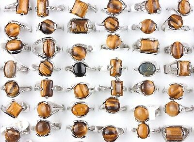 Wholesale Lots Assorted 5X Tibetan Natural Tiger's-Eye Gemstone Silver P Rings
