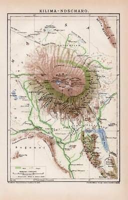 AFRICA KILIMANJARO MOUNTAIN Tanzania Lithograph dated 1897 old historical map