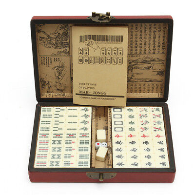 [NEW] Portable Vintage Mahjong Rare Chinese 144 Tiles Mah-Jong Set Toy With Leat