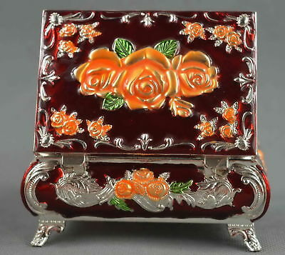 Fine Collectable Handwork Decorative Cloisonne Carve Flower Auspicious Jewel Box