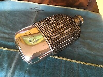 Large Antique Gorham Sterling Silver Basket Weave Whiskey Spirits Hip Flask