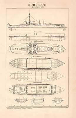 CORVETTE WARSHIP technical sketch Engraving 1892 old historical antique print