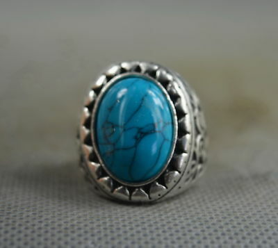 Collection Handwork Old Miao Silver Carve Flower Inlay Turquoise Auspicious Ring