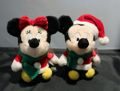 Pair of Adorable Mickey and Minnie Mouse Plush Christmas Wind Up Toys