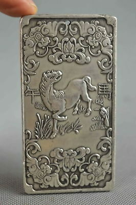 Collectable Handwork Decor Old Miao Silver Carve Horse & Bat Succeed Pendant