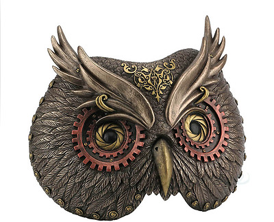 Steampunk Owl Mask Wall Plaque Statue Sculpture Figure - GIFT BOXED
