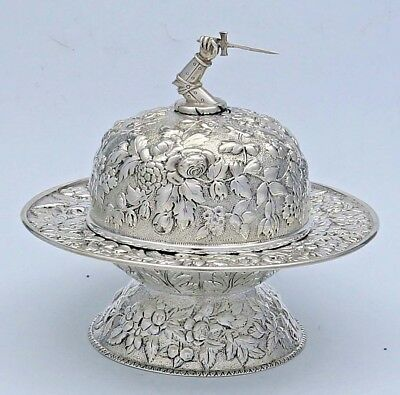 ARM with SWORD Kirk Repousse 11 oz Silver  Butter Dish with Liner