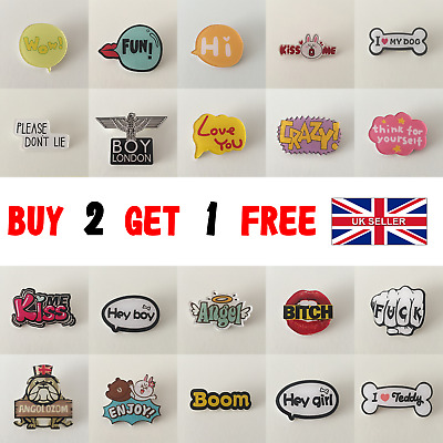 Fashion Motto Pin Badges UK SELLER Brooches Trend Retro Backpack Designs Pins