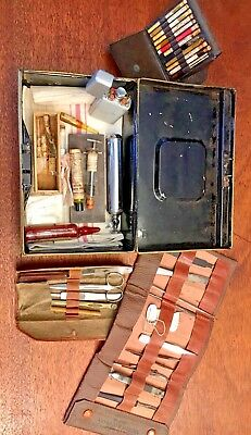 Antique Traveling Doctor's Kit with Original Medicines & Surgical Tools, 1900