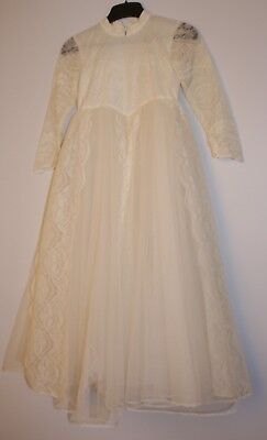 KIDS SIZE WEDDING DRESS ORIGINAL VINTAGE 1950s TO FIT 8 TO 10 YEAR OLD.