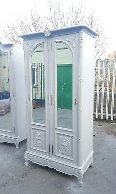 French Double Wardrobe Grey Hand Carved Mirrored Armoire Antique Shabby Chic
