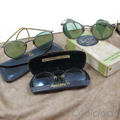 Antique Green Tint Full Vue Safety Glasses & Spectacle Collection 3 Pc Lot JC307