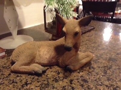 Beautiful Resin Deer Laying Perfect Condition Made In Usa