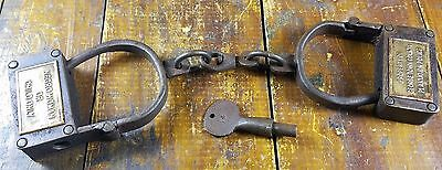 Black Americana Pre Civil War Style Woman Or Child Size Iron Handcuffs Turn Key