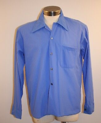 NEW. BLUE. MEDIUM ORIGINAL VINTAGE 1970s MENS SHIRT. BRI NYLON.