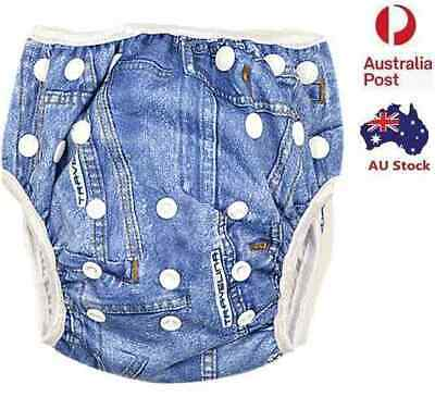 Demin Swim Nappy Baby Boyish Toddler Cover Diaper Pant Nappies Swimmers (S143)