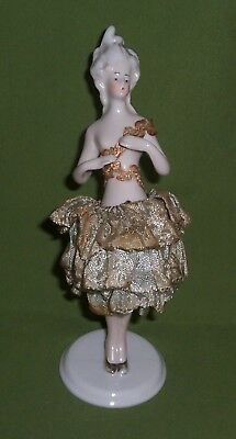 SALE~VINTAGE German Porcelain VICTORIAN Figural Lady HALF DOLL LEGS PIN CUSHION