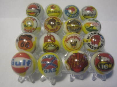 REBEL DINO MOBIL GULF BEELINE ect.. gasoline oil MARBLES 5/8 SIZE lot + stands