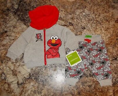 Boys Size 0-3 Months Sesame Street Elmo 2-Piece Hooded Top & Pants Outfit