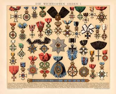 MEDALS AWARDS GERMANY RUSSIA AUSTRIA PORTUGAL DENMARK ENGLAND Lithograph 1894