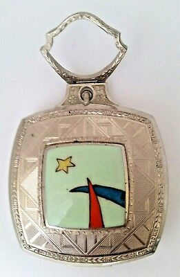 Vintage Art Deco EVANS Hand Painted MOON STAR Vanity Compact With Through Handle