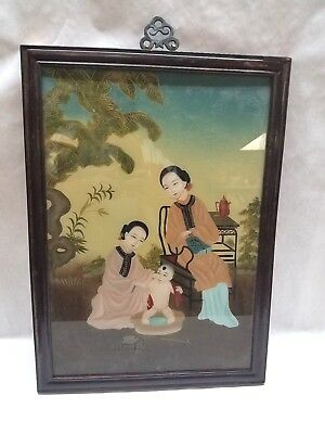 Vintage Tianjin Oil Painting On Glass