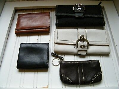 5- Vintage Coach Assorted Colors And Sized Wallets ( All Authentic )