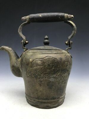 Chinese ancient pure copper teapot carved woman