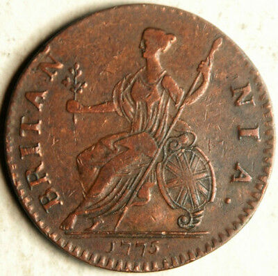Great Britain 1/2 Penny Halfpenny 1775 (Also, Occasionally U.s. Colonial Money)
