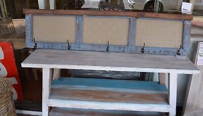 Rustic recycled blue Timber Hat coat rack wall rack  wooden coat hooks 130cm