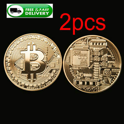 2x  Rare Bitcoin Collectible gift In Stock Golden Iron Commemorative Coin Gifts*