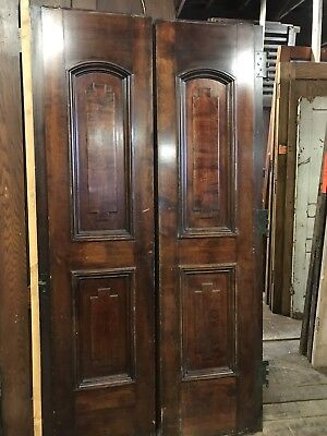 Antique Pantry / Track  Panel Doors Salvage Doors Chicago Church. 1 Side Finish