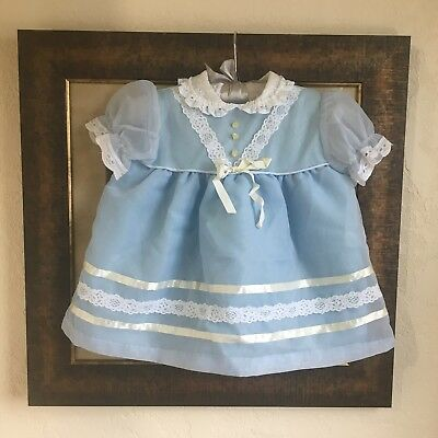 Vintage Blue Sheer Dress 12-18 Months Lace Peter Pan Collar
