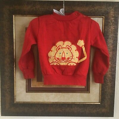 Vintage Sears Lion Sweater 2T 32lb Red Tawny Kitsch Yellow Gingham Sweatshirt