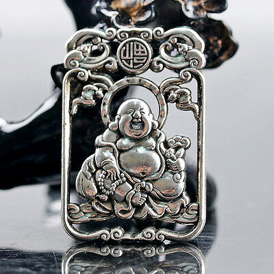 Chinese Collectable Tibet Silver Hand Carved Maitreya Buddha Pattern Amulet D292