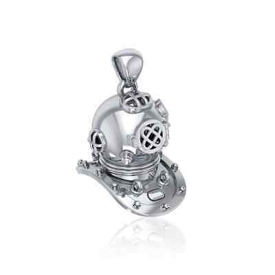 Historic Scuba Dive Helmet Sterling Silver Pendant by Peter Stone Jewelry