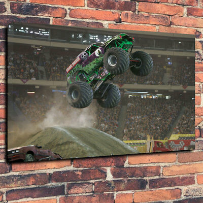 """Grave Digger Monster Truck Printed Canvas Picture A1.30""""x20"""" 30mm Deep Man Cave"""