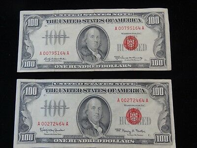 (Group Of 2) Series 1966 & 1966 A U.s. Red Seal $100 Bank Notes