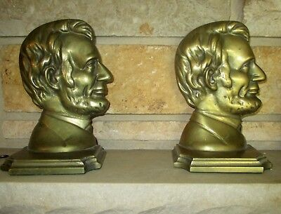 Vintage Pair Abraham Lincoln Bookends Bronze or Brass Finish Cast Iron EUC