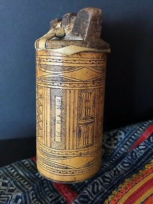 Old Timor Carved Bamboo Lime Container …beautiful collection item