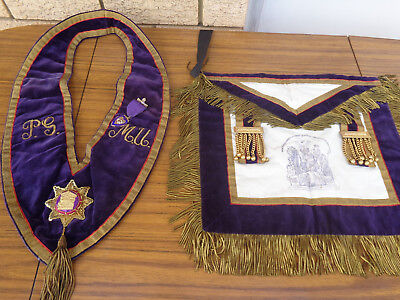 Vintage Masonic / Oddfellows Apron And Collar.  In Good Condition.  Collectible