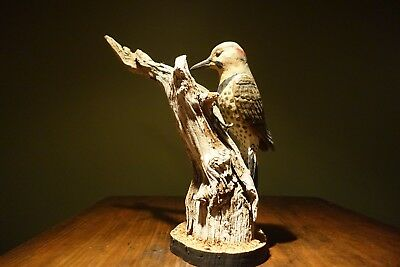 VINTAGE WOOD CARVING NORTHEN FLICKER   by  STAN SPARRE  CAPE COD Ma