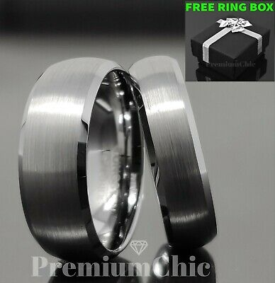 Tungsten Carbide Wedding Band Ring Brushed Titanium Silver Color Comfort Fit