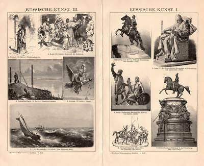Russian Art Sculpting Painting Architecture Engraving 1896 old historical print