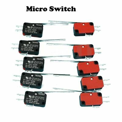 5Pcs DC V-153-1C25 Roller Inching Trigger Switch Long Lever SPDT Micro Limit