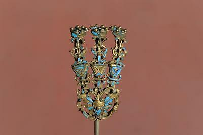 Early 20C Chinese Gilt Sterling Silver Kingfisher Feather Hair Hat Pin Hairpin