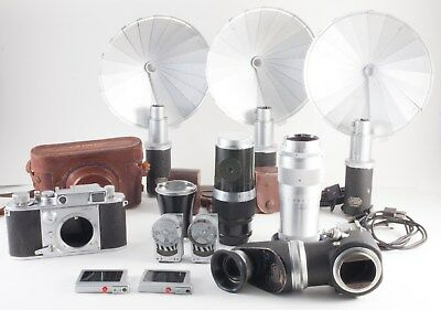 Lot Of Leica And M39 Mount Cameras Lenses Accessories For Parts/repair