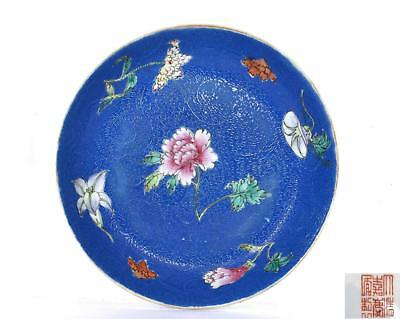 Old Chinese Famille Rose Blue Sgraffiato Ground Porcelain Plate Dish Flowers